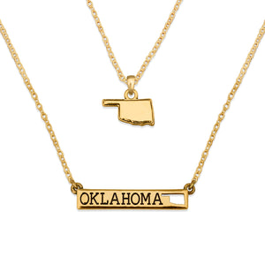 Oklahoma State Pride ''Gold Double Down State'' Necklace