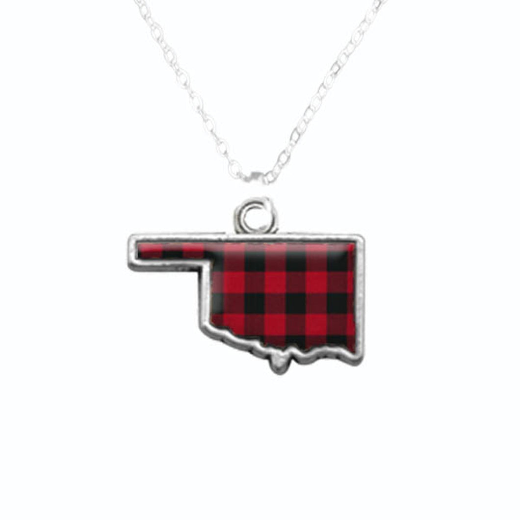 Oklahoma State Pride ''Flag Pattern State'' Necklace