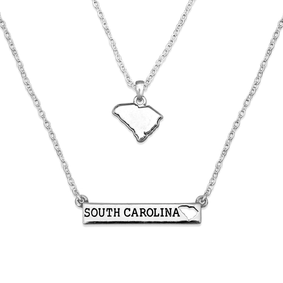 South Carolina State Pride ''Silver Double Down State'' Necklace