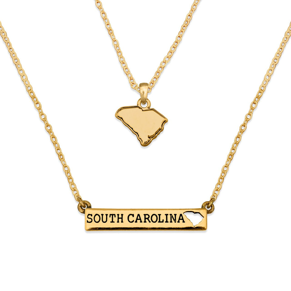 South Carolina State Pride ''Gold Double Down State'' Necklace