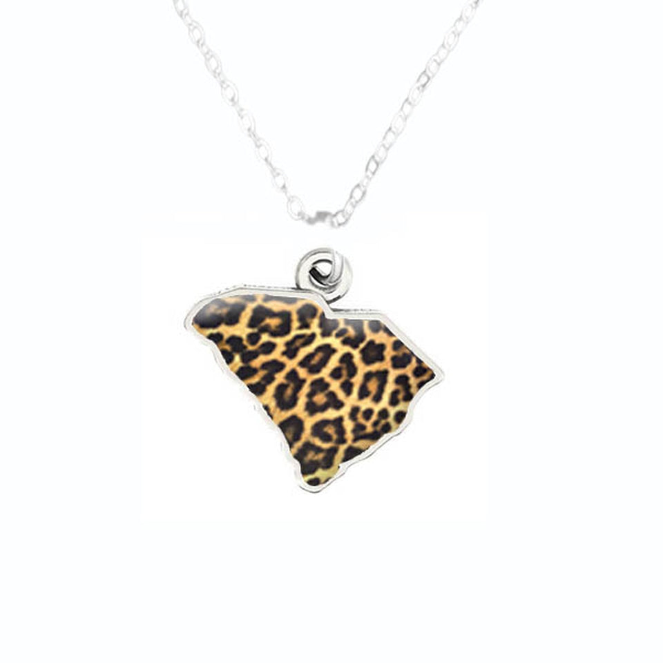 South Carolina State Pride ''Silver Cheetah Print State'' Necklace