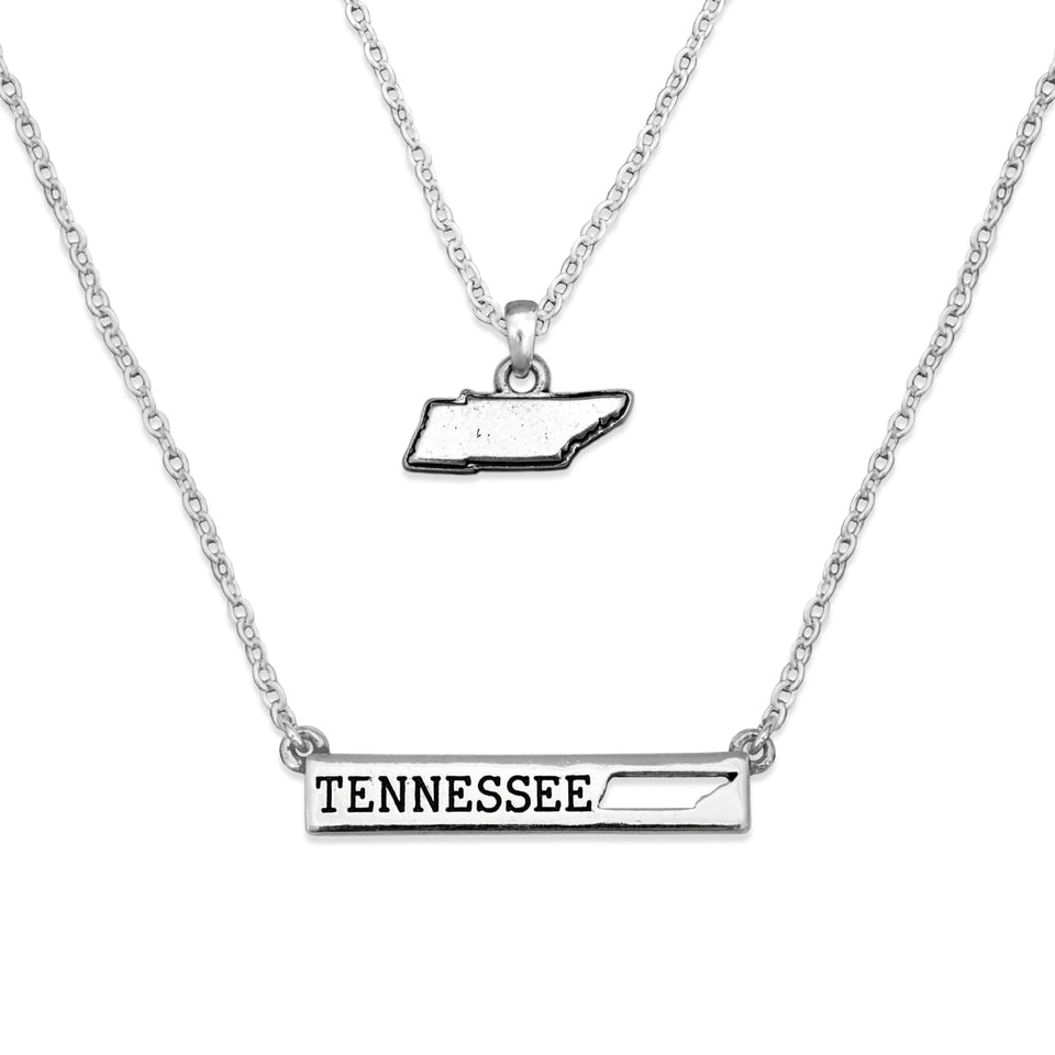 Tennessee State Pride ''Silver Double Down State'' Necklace