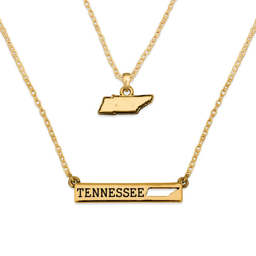 Tennessee State Pride ''Gold Double Down State'' Necklace