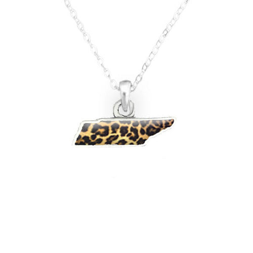 Tennessee State Pride ''Silver Cheetah Print State'' Necklace