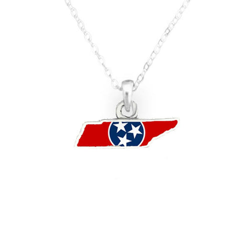 Tennessee State Pride ''Flag Pattern State'' Necklace