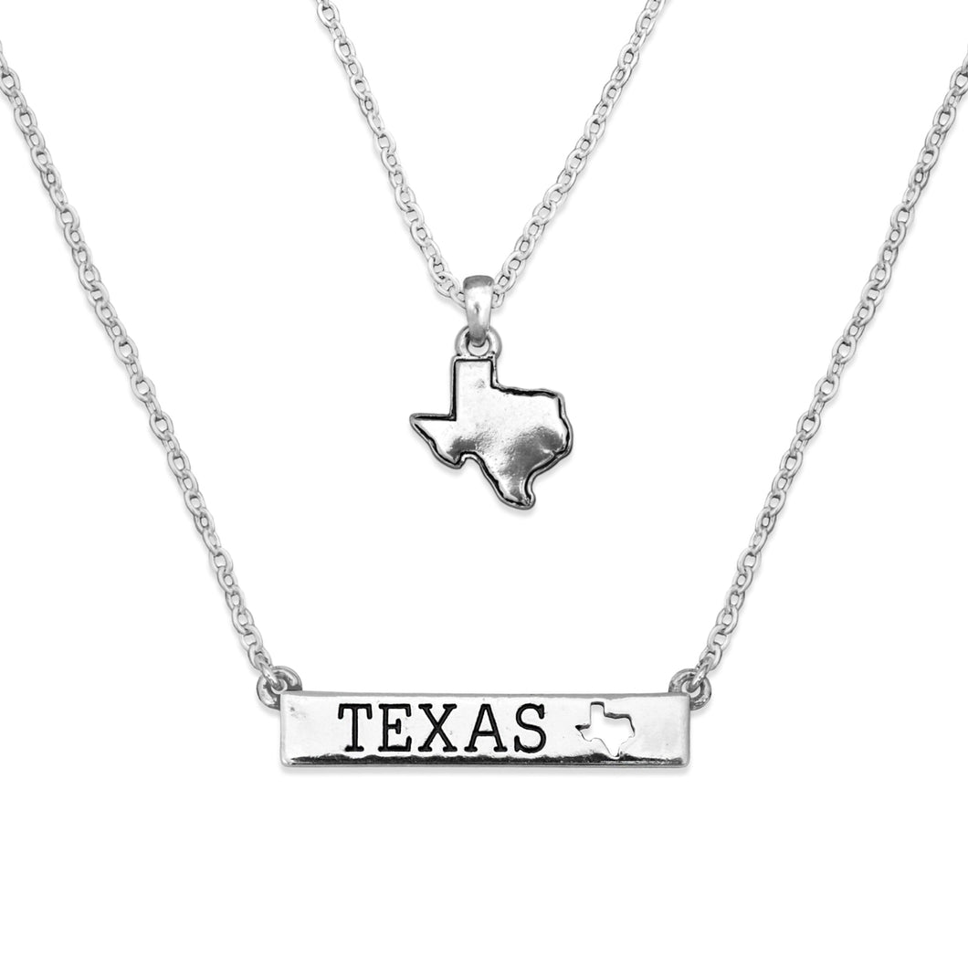 Texas State Pride ''Silver Double Down State'' Necklace