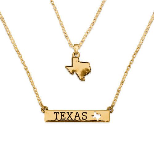 Texas State Pride ''Gold Double Down State'' Necklace