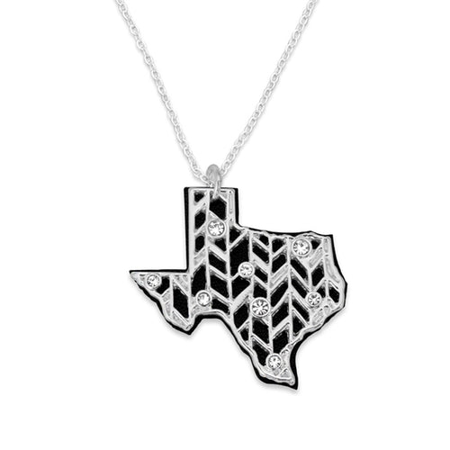 Texas State Pride ''Silver Crystal and Suede State'' Necklace