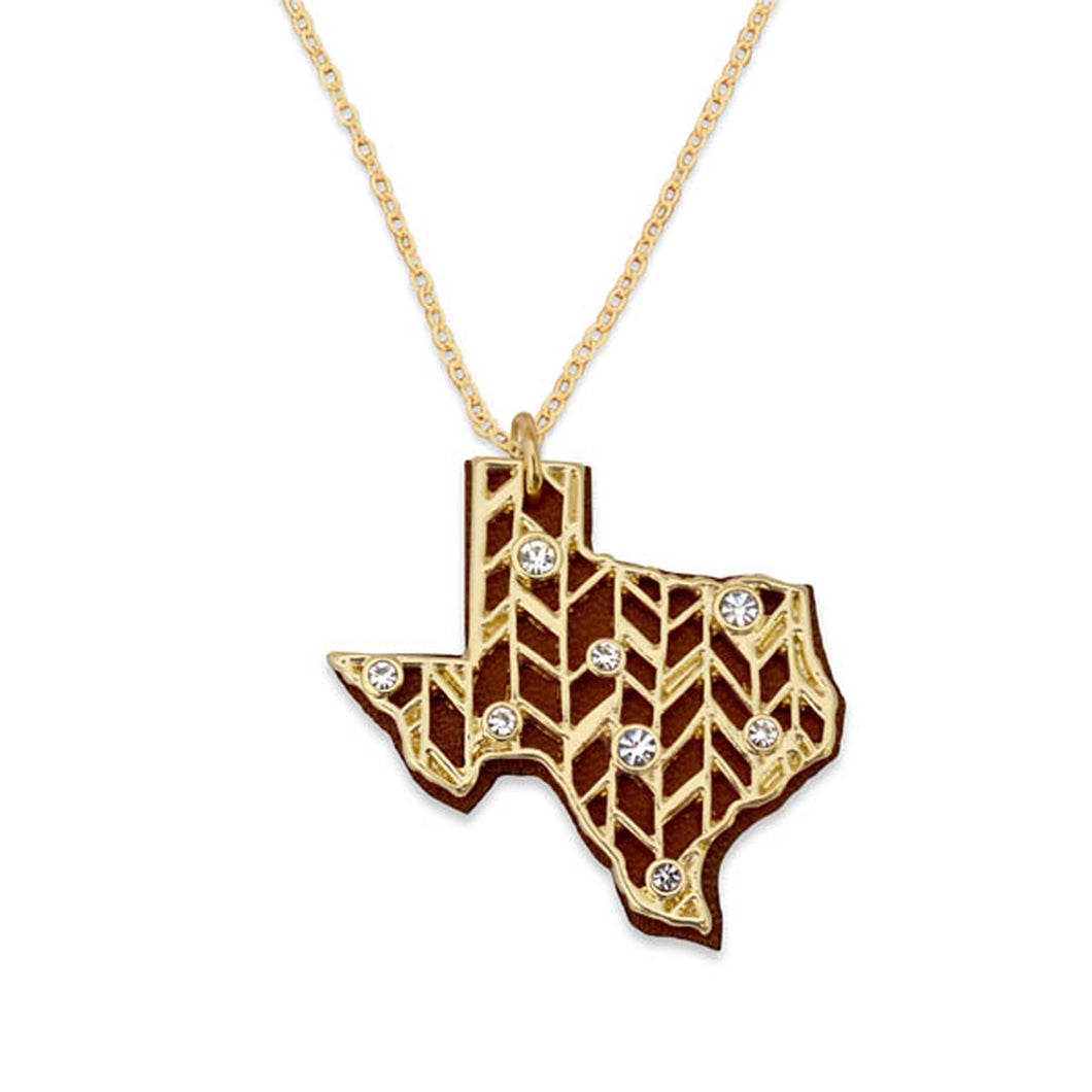 Texas State Pride ''Gold Crystal and Suede'' Necklace