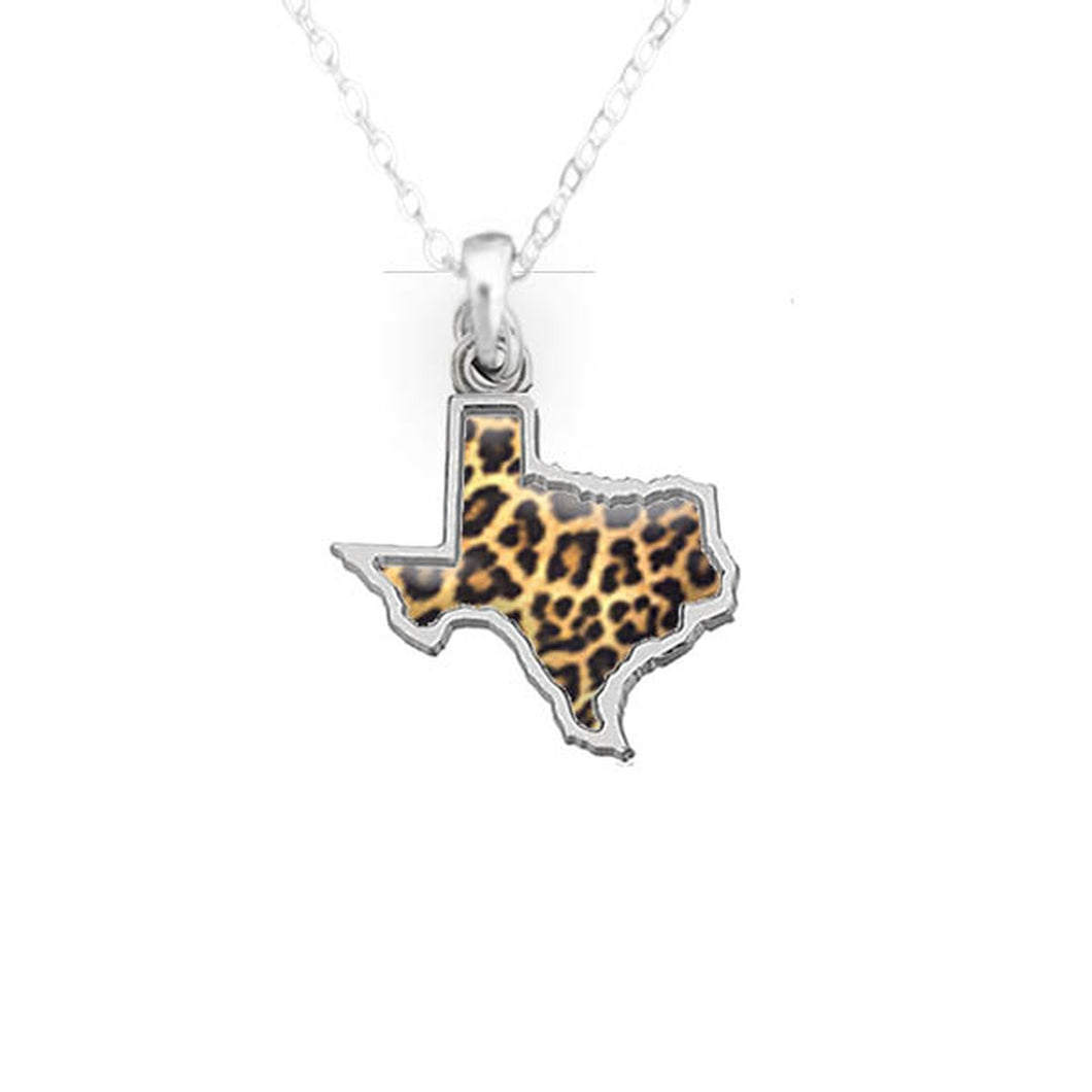 Texas State Pride ''Silver Cheetah Print State'' Necklace