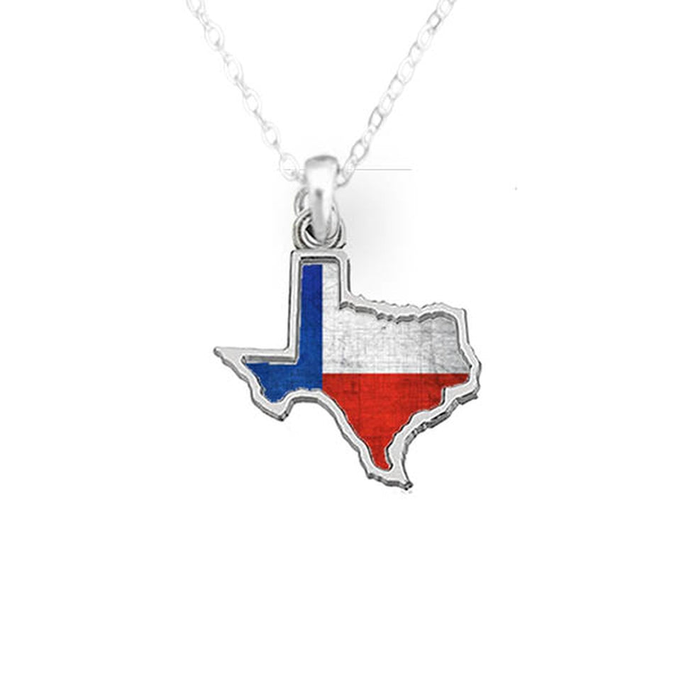 Texas State Pride ''Flag Pattern State'' Necklace