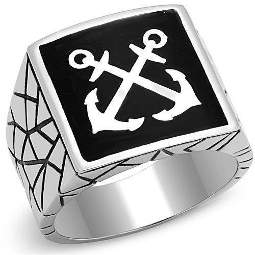 High Polished 2 White Anchors Stainless Steel Biker Ring