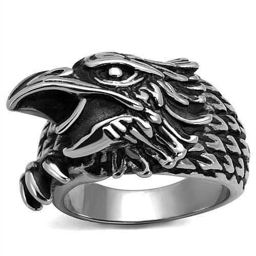 High Polished Bald American Eagle Head Stainless Steel Biker Ring