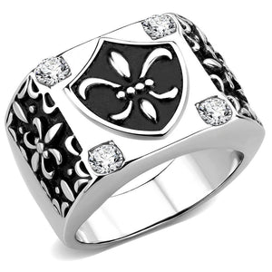 High Polished Boho Design w/ AAA Grade CZ Stainless Steel Biker Ring