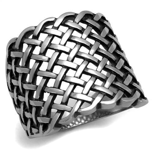 High Polished Vintage Crisscross Stainless Steel Biker Ring