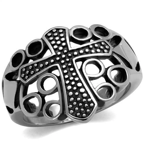 High Polished Cross in Multiple Holes Stainless Steel Biker Ring