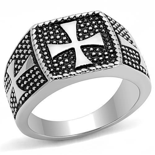 High Polished Crusader in Stone Bullets Stainless Steel Biker Ring