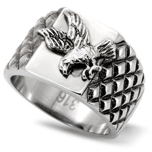 High Polished Proud American Eagle Stainless Steel Biker Ring