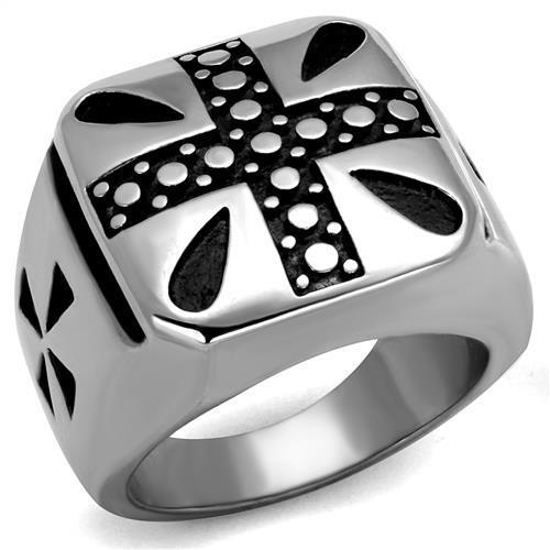 High Polished Dotted Crusader Design Stainless Steel Biker Ring