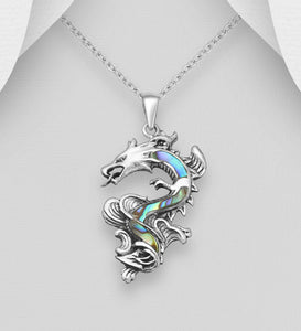 Sterling Silver  Shell Decorated Silver Oxidized Dragon Pendant