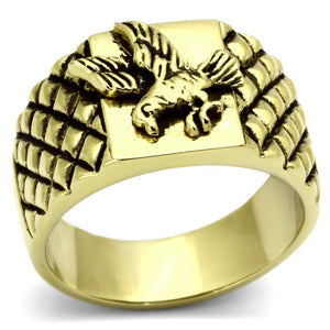 High Polished Gold Proud American Eagle Stainless Steel Biker Ring