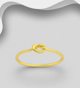 Sterling Silver Love Knot Ring, Plated with 1 Micron 18K Yellow Gold