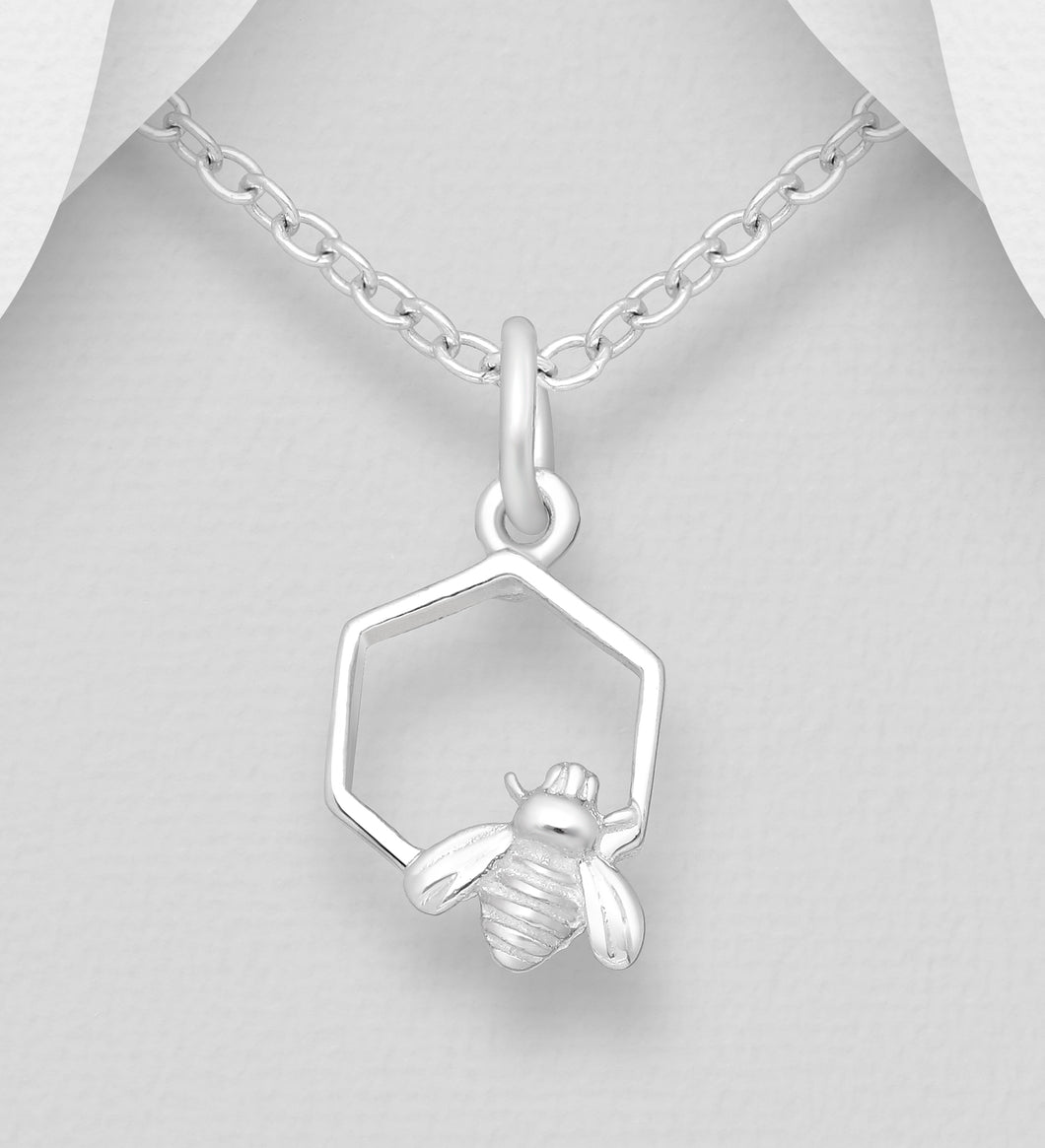 Sterling Silver Bee and Honeycomb Pendant
