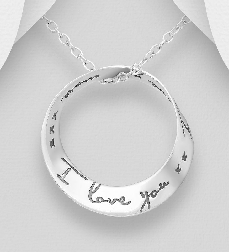 "Sterling Silver ""I Love You... I Love You More""  Pendant"