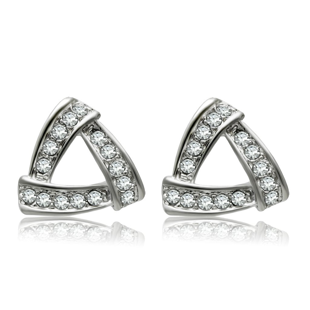 Rhodium White Metal Earrings with Top Grade Clear Crystal