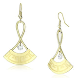 Gold Iron Clear Drop Earring