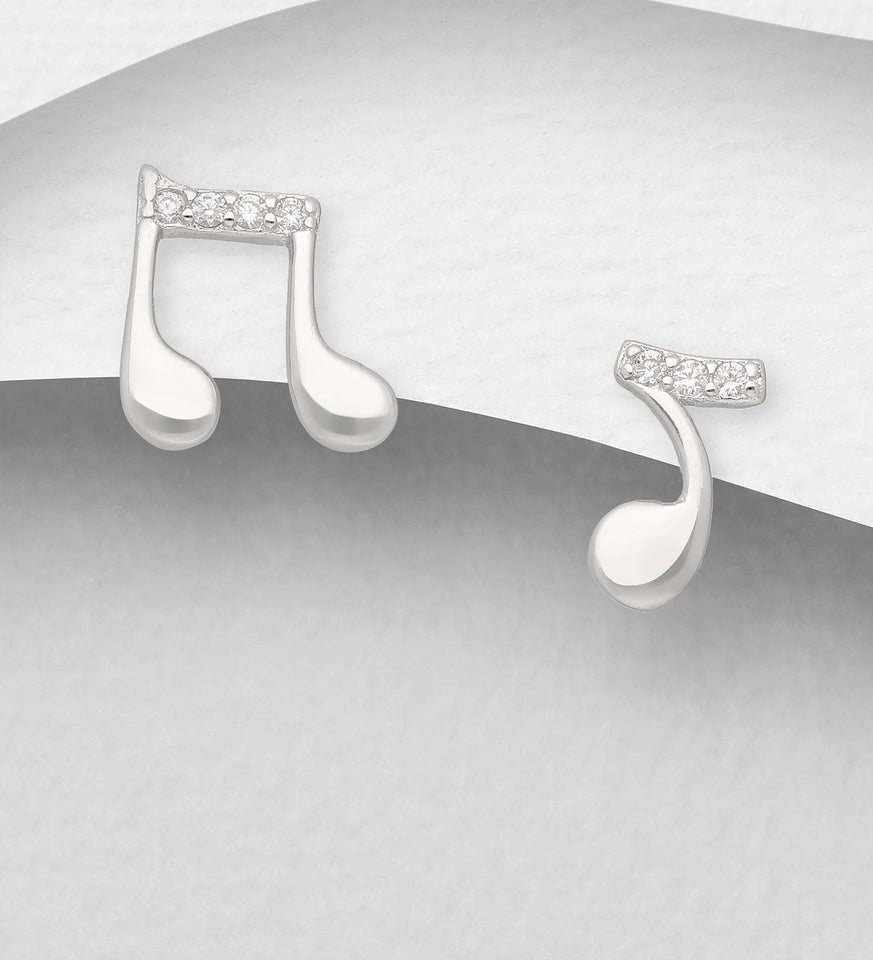 Sterling Silver CZ Simulated Diamonds Music Notes Push-Back Earrings