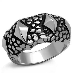 High Polished Rocky Style Stainless Steel Biker Ring