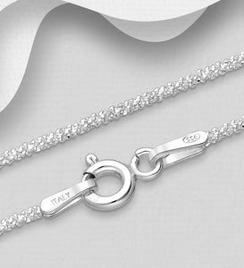 Italian Sterling Silver Chain, 1.3 mm Wide