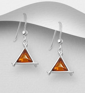 Sterling Silver Triangle Hook Earrings, Decorated with Baltic Amber