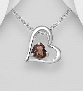 Sterling Silver Heart Pendant, Decorated with Smoky Quartz Topaz
