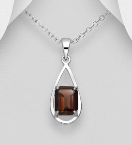 Sterling Silver Droplet Solitaire Pendant, Decorated with Smoky Quartz Gemstone