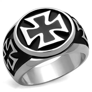 High Polished Thick Black Crusader Stainless Steel Biker Ring