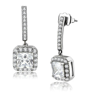 High Polished Stainless Steel AAA Grade CZ Square Charm Drop Earring