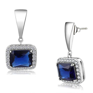 High Polished Stainless Steel Synthetic Glass Square Montana Charm Drop Earring