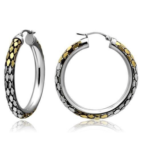 Gold+Rhodium Stainless Steel Hoop Earrings