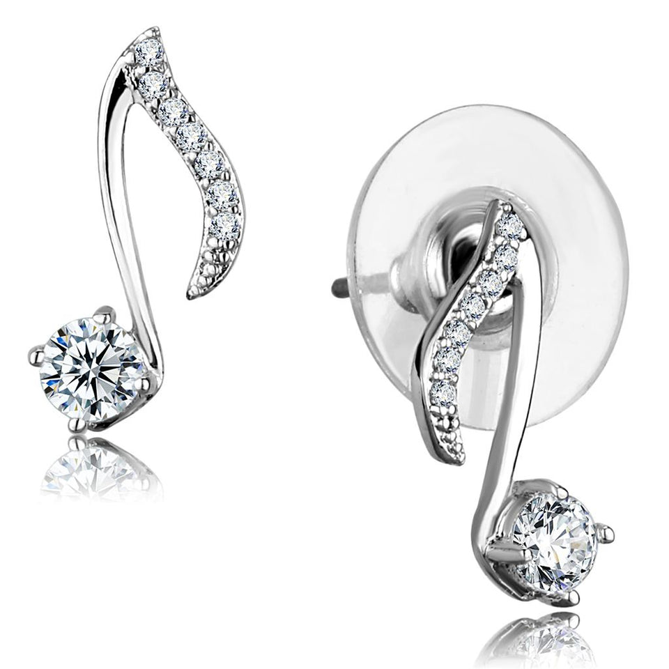Rhodium 925 Sterling Silver Clear Stud Earring