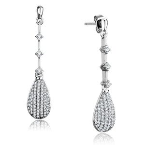 Rhodium 925 Sterling Silver AAA Grade CZ Drop Earrings