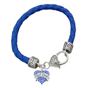 U.S. Coast Guard Crystal Heart Charm Blue Leather Bracelet
