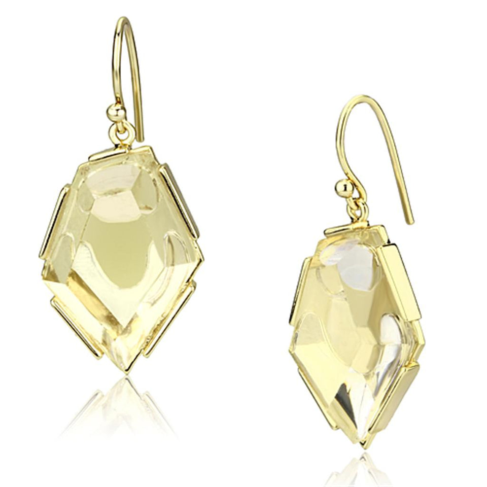 Gold Brass Drop Earring in Clear Synthetic Glass