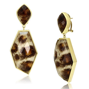 Gold Brass Drop Earrings with Synthetic in Animal Pattern