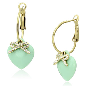 Gold Brass Leverback Earrings with Synthetic in Emerald