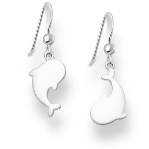 Sterling Silver Whale Hook Design Earrings