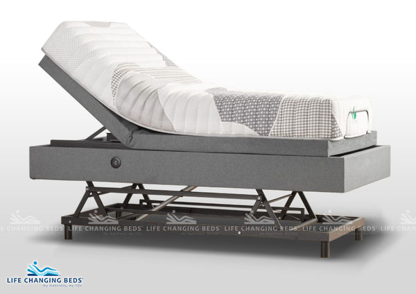 Long Single Medi Sleep Hi-Lo Adjustable Bed base with massage & pre-set