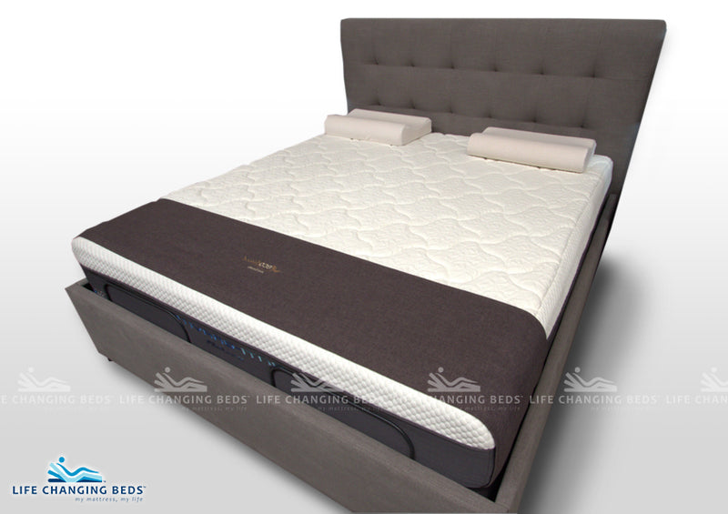 King Size Leeds Headboard and Power Base Surround including mattress and standard adjustable style bed bases