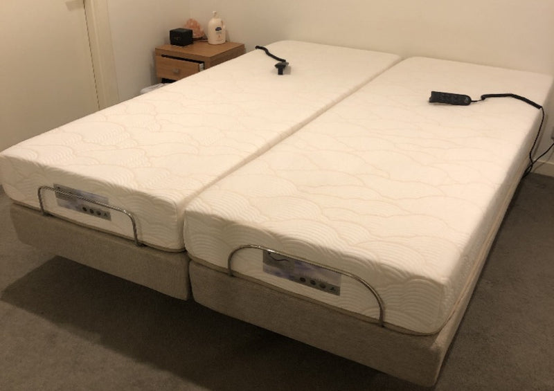 Split Queen Size Narrow Long Single pair Latex Foam Adjustable Mattresses with split narrow bases standard with no-upholstery